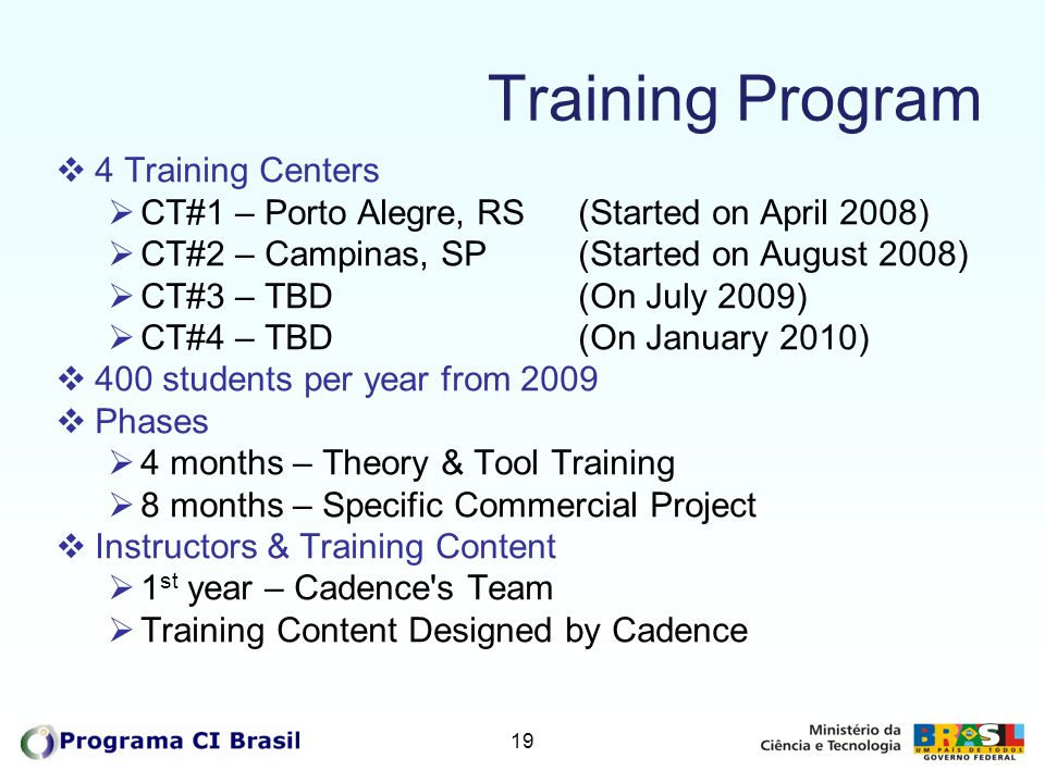 Training Program 4 Training Centers