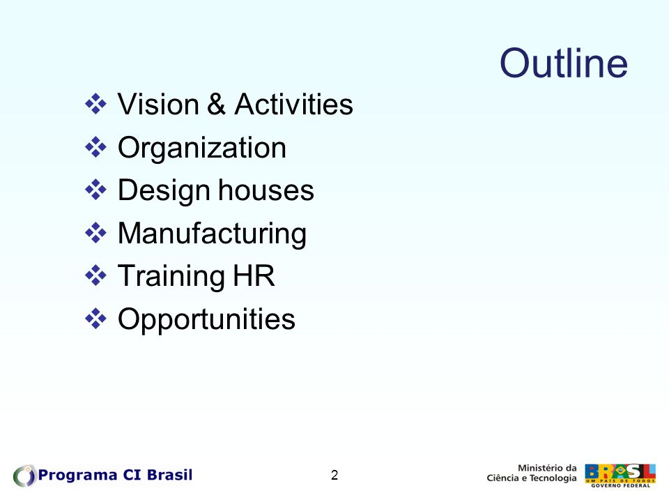 Outline Vision & Activities Organization Design houses Manufacturing