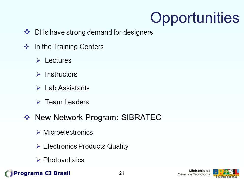 Opportunities DHs have strong demand for designers