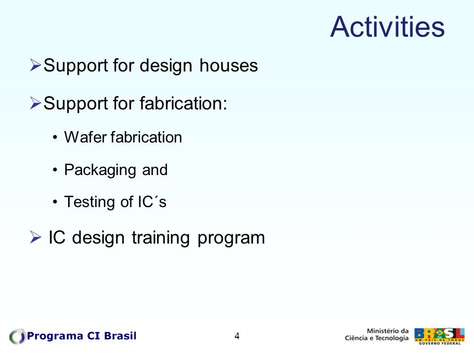 Activities Support for design houses Support for fabrication: