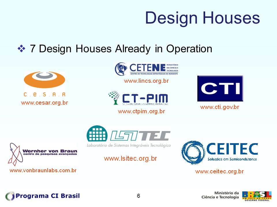 Design Houses 7 Design Houses Already in Operation 6