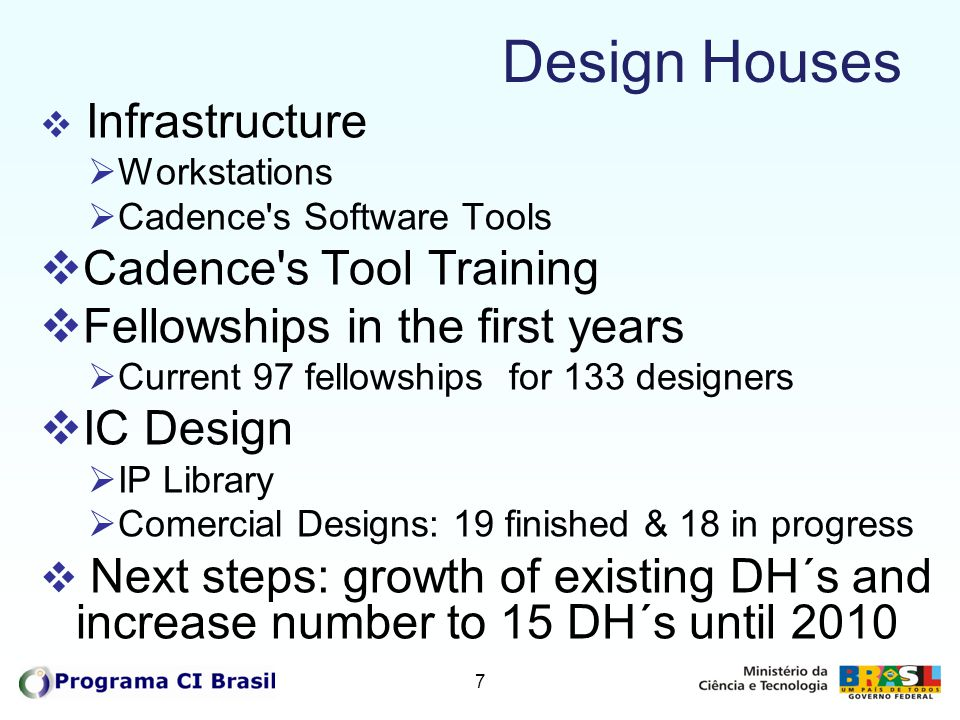 Design Houses Cadence s Tool Training Fellowships in the first years