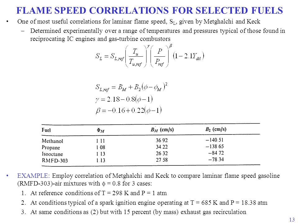 FLAME SPEED CORRELATIONS FOR SELECTED FUELS