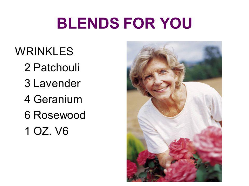 BLENDS FOR YOU WRINKLES 2 Patchouli 3 Lavender 4 Geranium 6 Rosewood