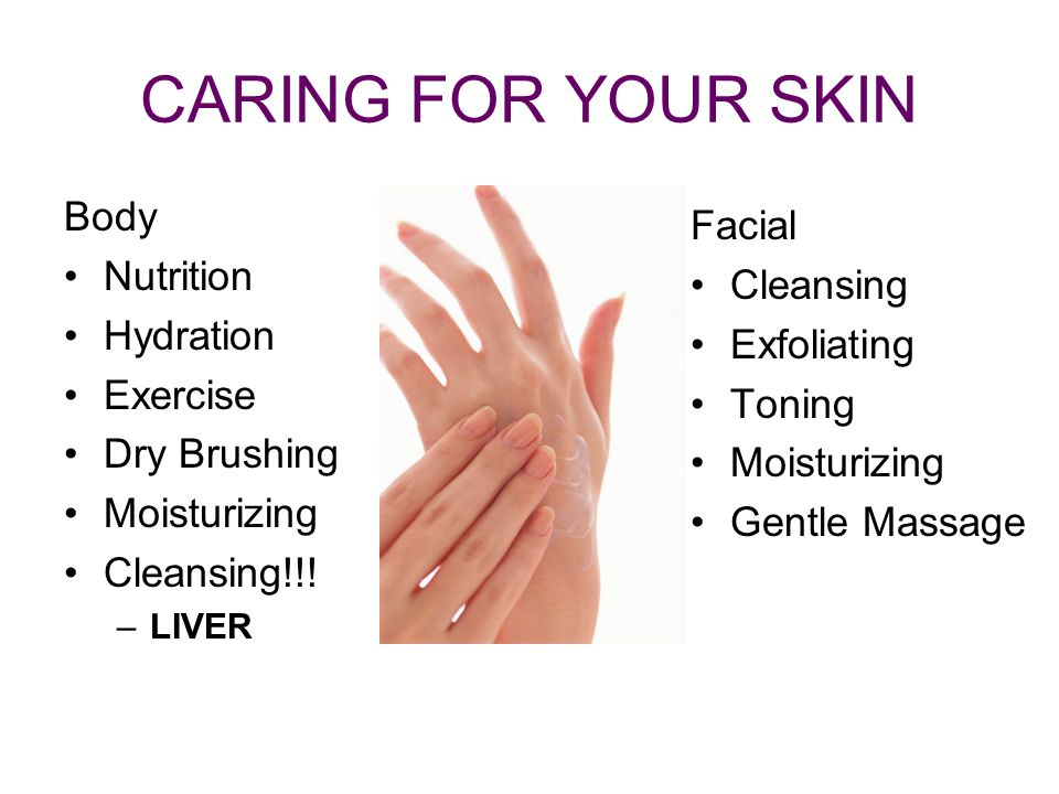 CARING FOR YOUR SKIN Body Facial Nutrition Cleansing Hydration