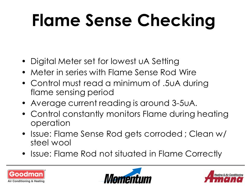 Flame Sense Checking Digital Meter set for lowest uA Setting