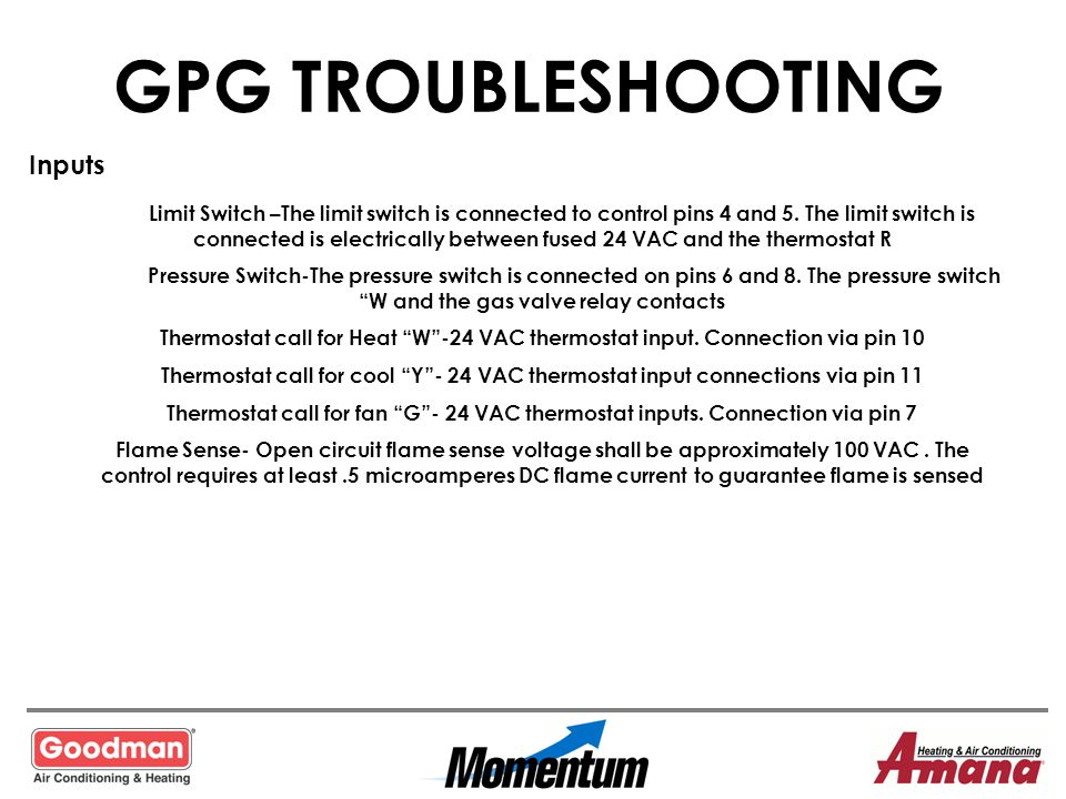 GPG TROUBLESHOOTING Inputs