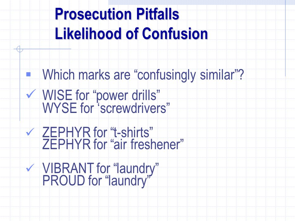 Prosecution Pitfalls Likelihood of Confusion