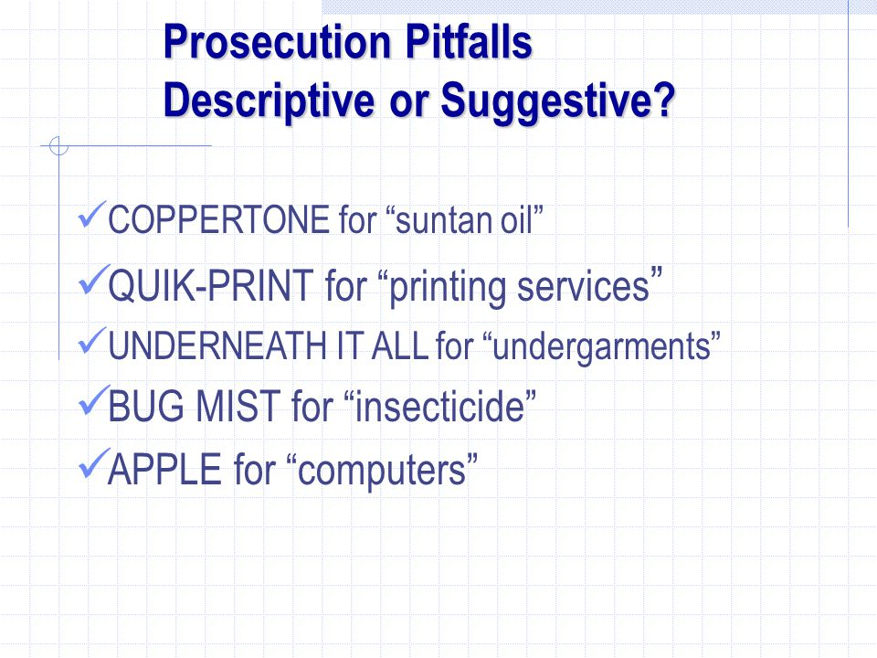 Prosecution Pitfalls Descriptive or Suggestive