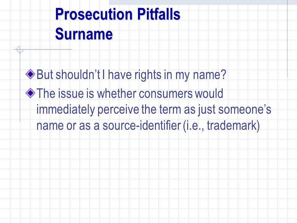 Prosecution Pitfalls Surname