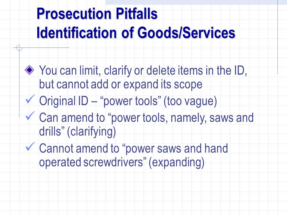 Prosecution Pitfalls Identification of Goods/Services