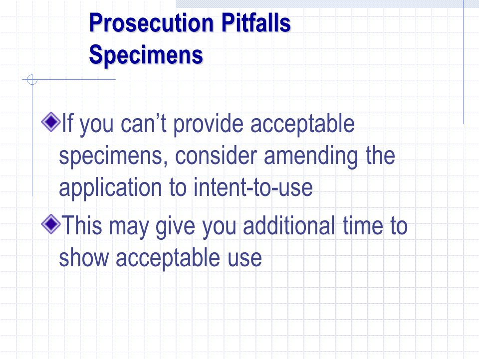 Prosecution Pitfalls Specimens