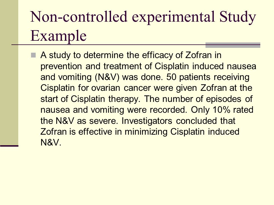 Non-controlled experimental Study Example