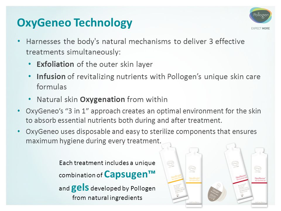 OxyGeneo Technology Harnesses the body s natural mechanisms to deliver 3 effective treatments simultaneously: