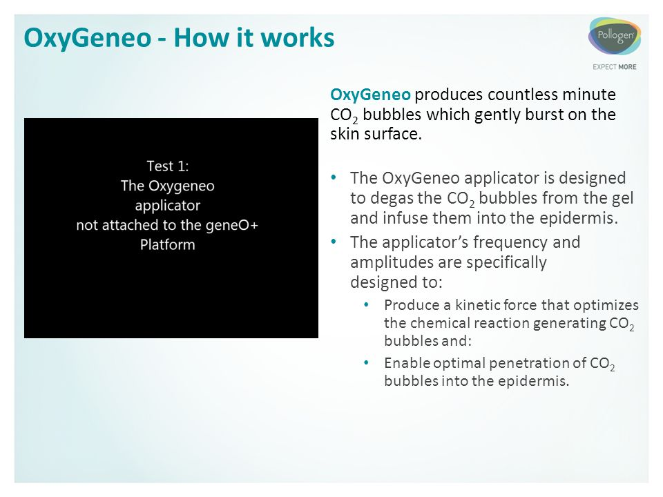 OxyGeneo - How it works OxyGeneo produces countless minute CO2 bubbles which gently burst on the skin surface.