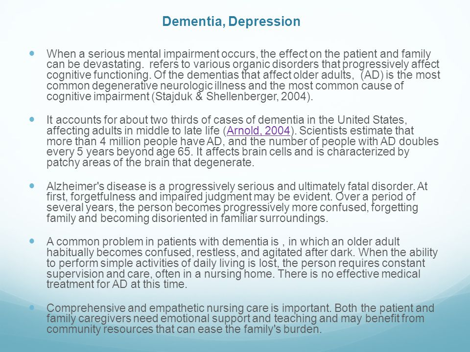Dementia, Depression