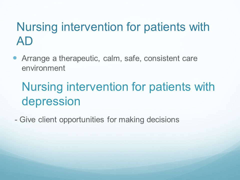 Nursing intervention for patients with AD