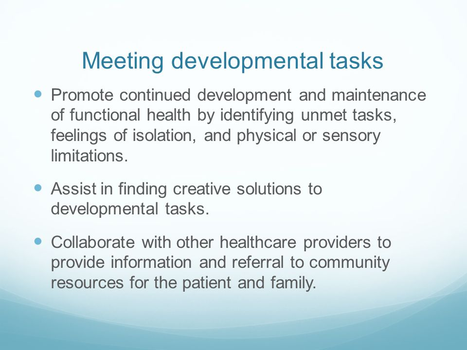 Meeting developmental tasks