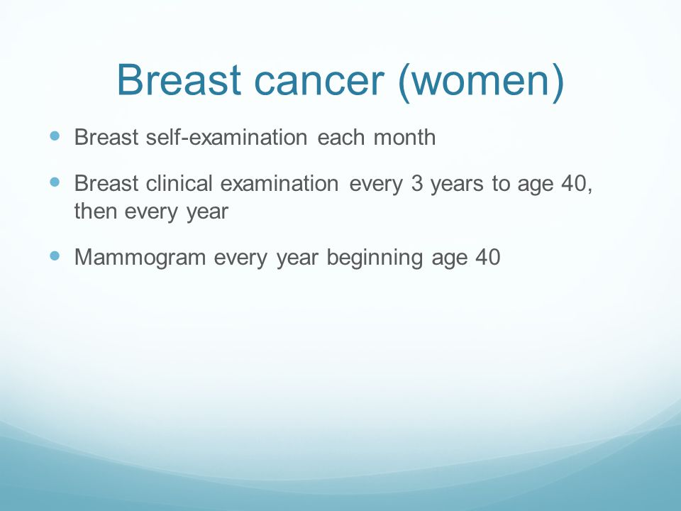 Breast cancer (women) Breast self-examination each month