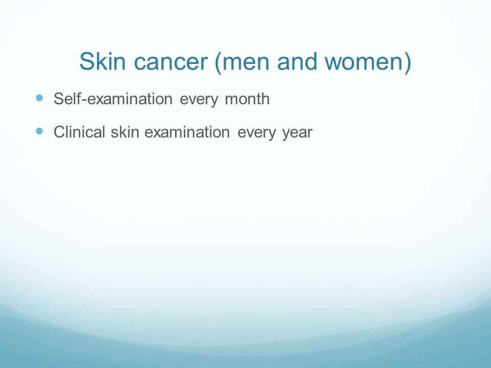 Skin cancer (men and women)