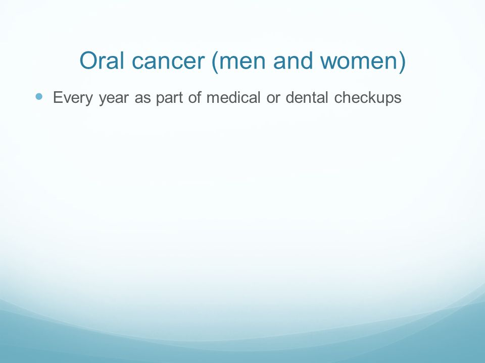 Oral cancer (men and women)