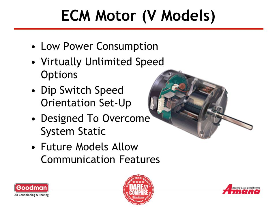 ECM Motor (V Models) Low Power Consumption