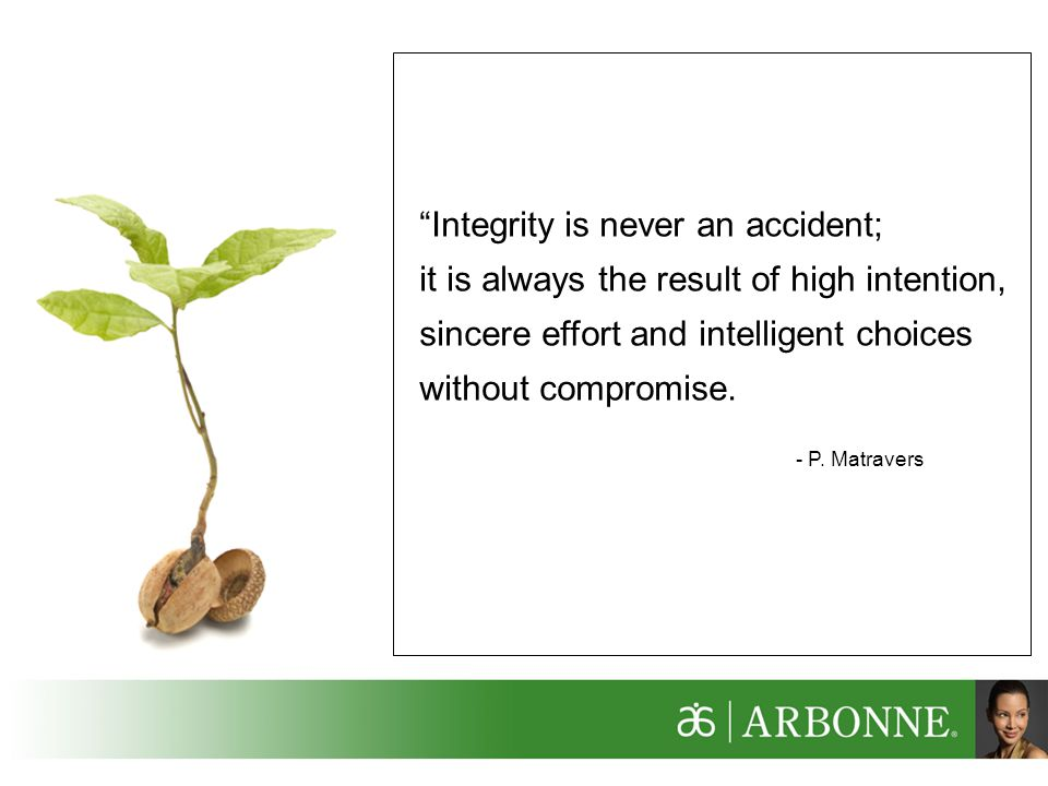 Integrity is never an accident;