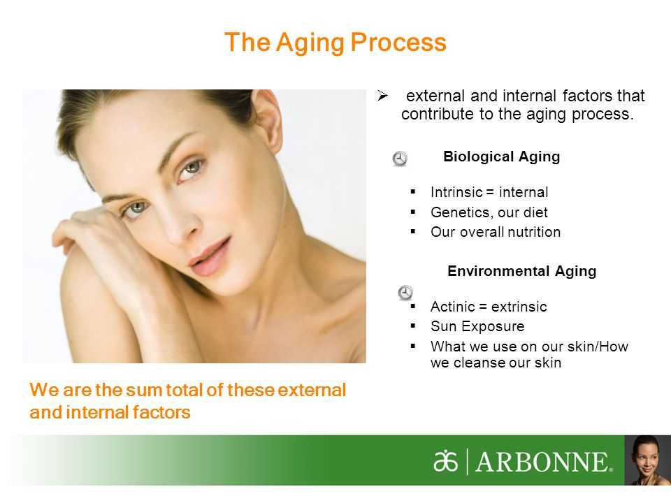 external and internal factors that contribute to the aging process.