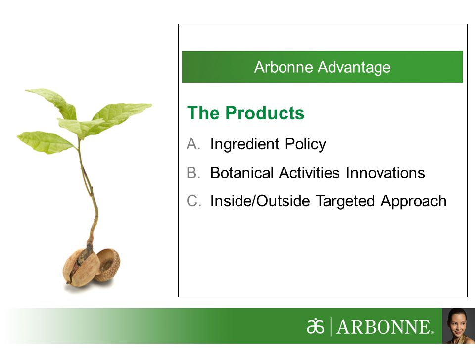The Products Arbonne Advantage Ingredient Policy