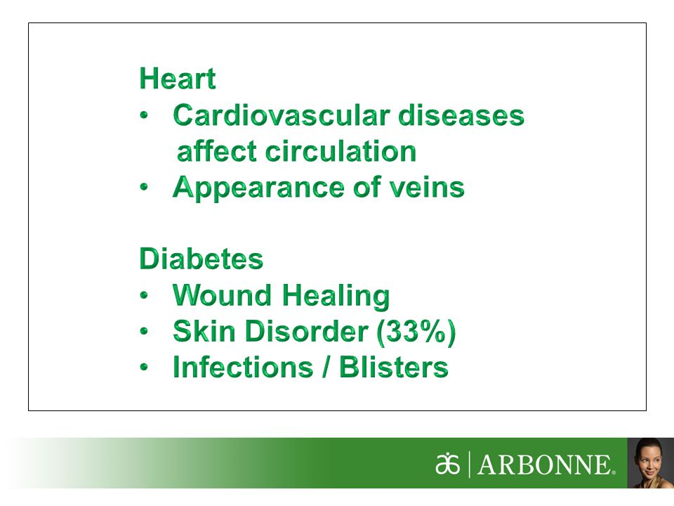 Heart Cardiovascular diseases. affect circulation. Appearance of veins. Diabetes. Wound Healing.
