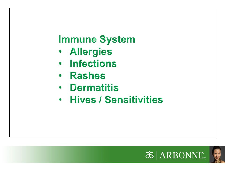 Immune System Allergies Infections Rashes Dermatitis Hives / Sensitivities