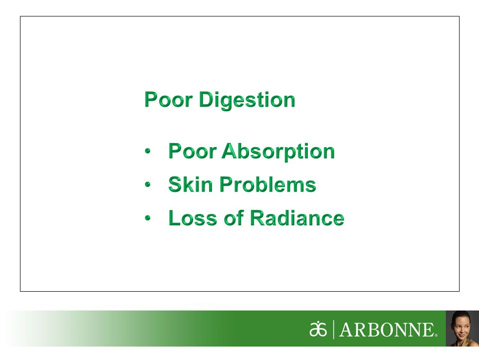 Poor Digestion Poor Absorption Skin Problems Loss of Radiance