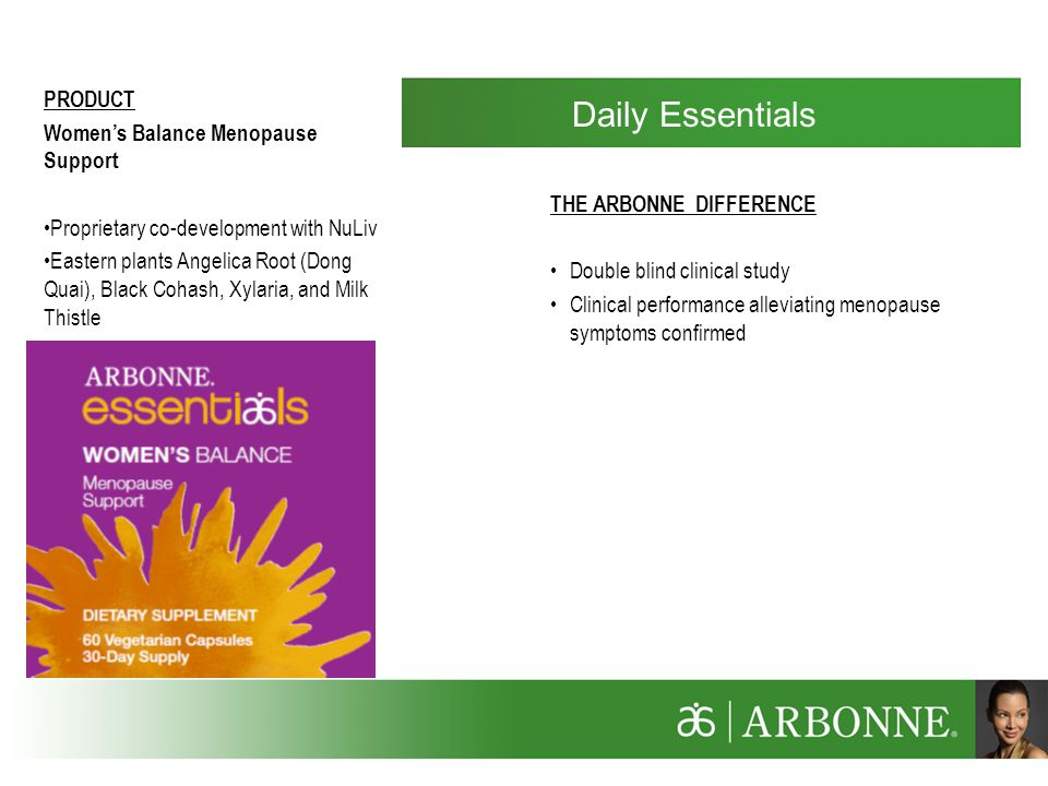 Daily Essentials PRODUCT Women's Balance Menopause Support