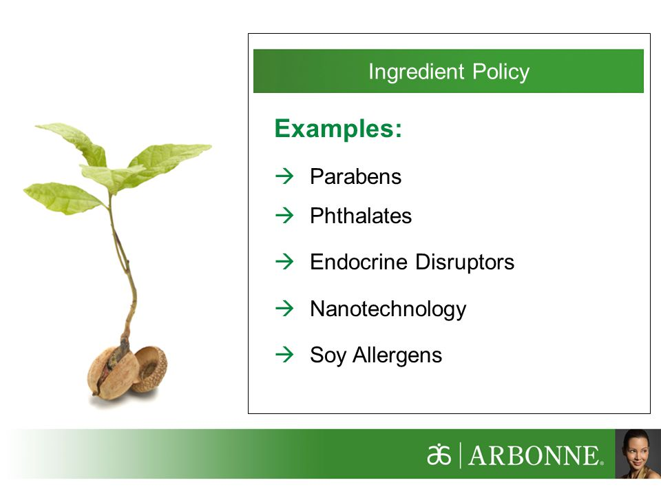 Examples: Ingredient Policy Parabens Phthalates Endocrine Disruptors
