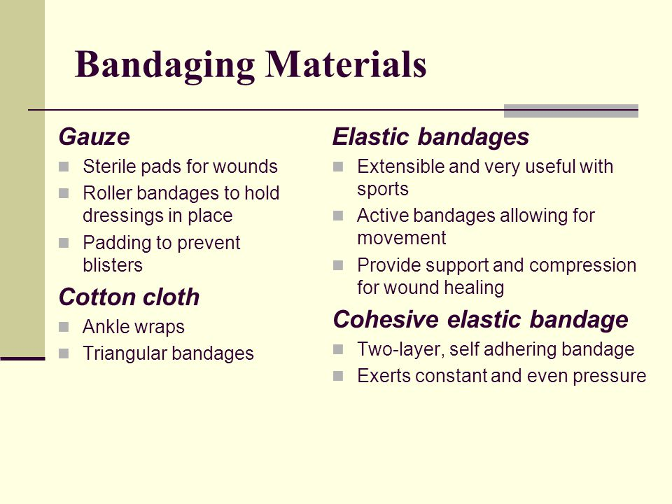 Bandaging Materials Gauze Cotton cloth Elastic bandages