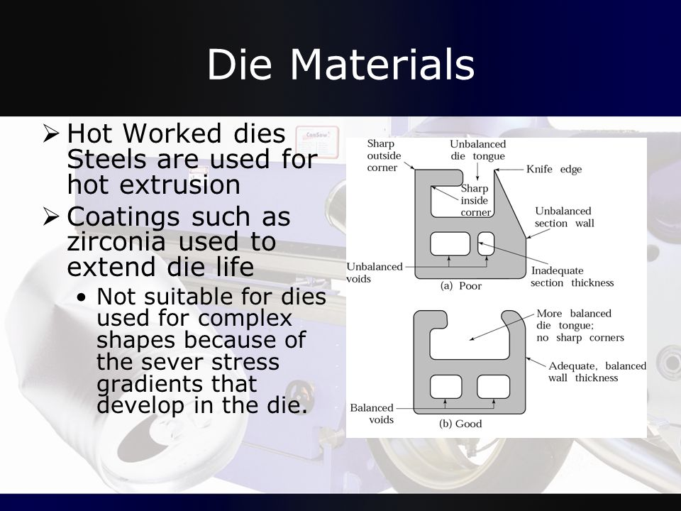 Die Materials Hot Worked dies Steels are used for hot extrusion