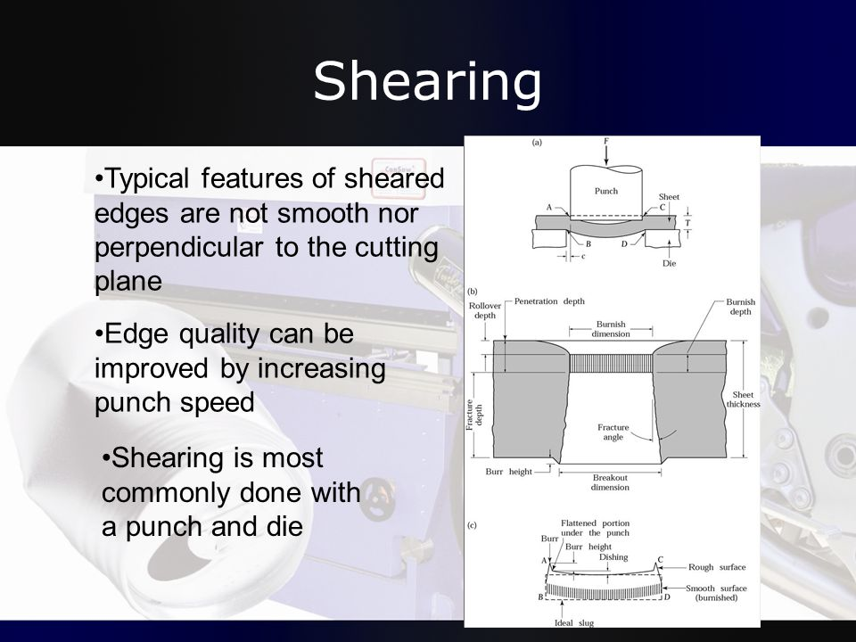 Shearing Typical features of sheared edges are not smooth nor perpendicular to the cutting plane.