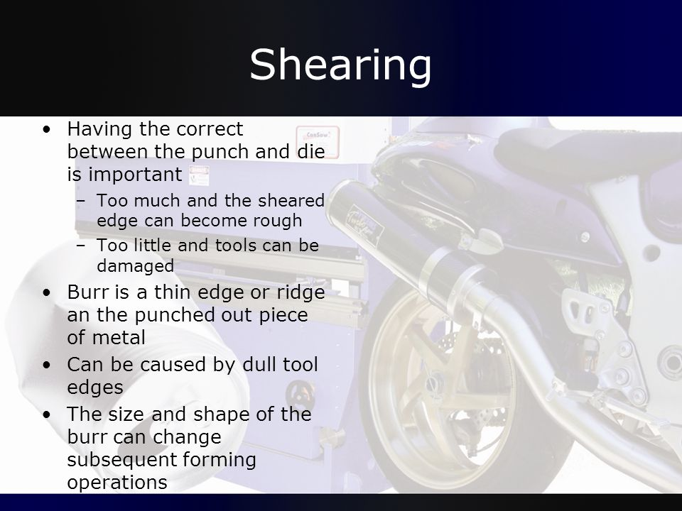Shearing Having the correct between the punch and die is important