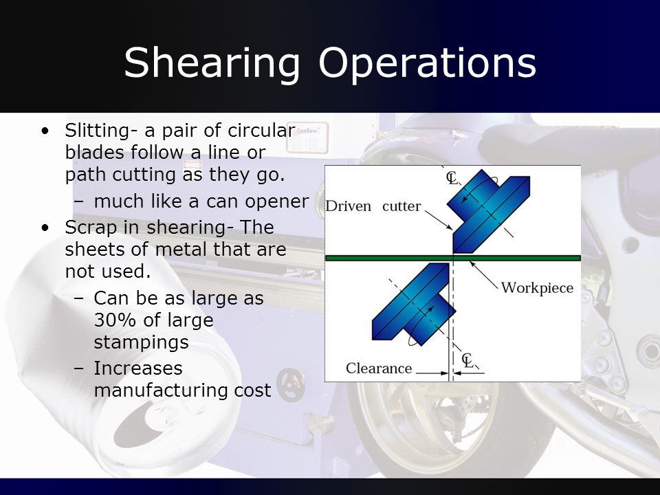 Shearing Operations Slitting- a pair of circular blades follow a line or path cutting as they go. much like a can opener.