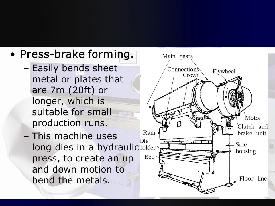 Press-brake forming. Easily bends sheet metal or plates that are 7m (20ft) or longer, which is suitable for small production runs.