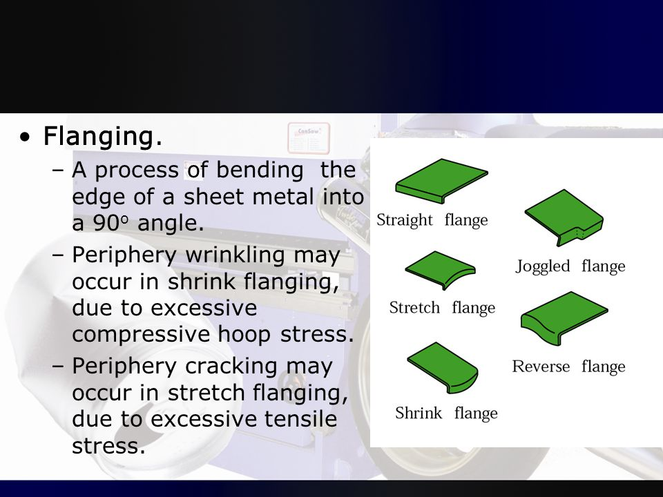Flanging. A process of bending the edge of a sheet metal into a 90o angle.