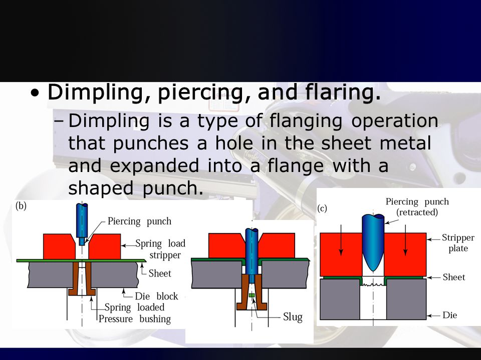Dimpling, piercing, and flaring.
