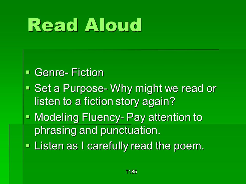 Read Aloud Genre- Fiction
