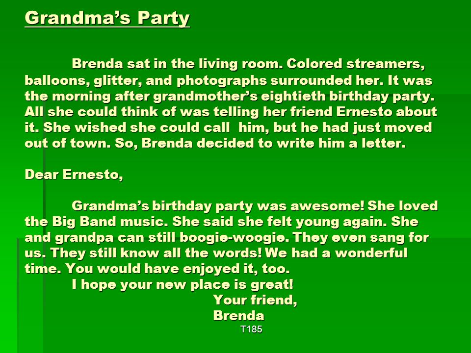 Grandma's Party. Brenda sat in the living room