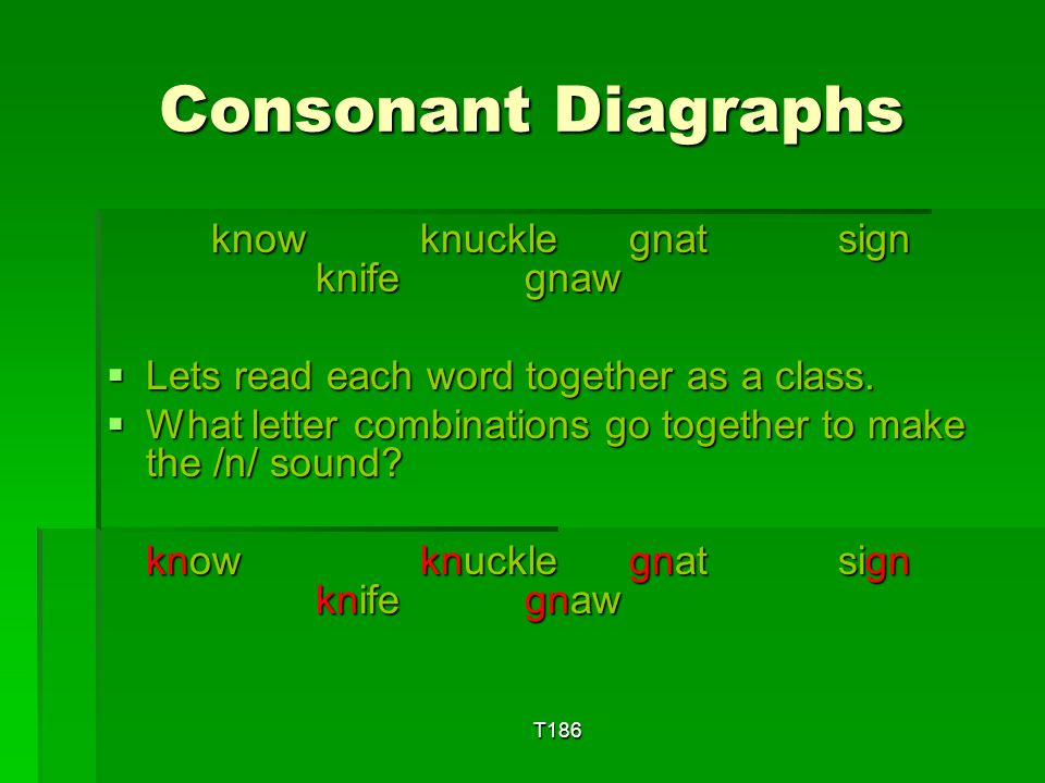 Consonant Diagraphs know knuckle gnat sign knife gnaw