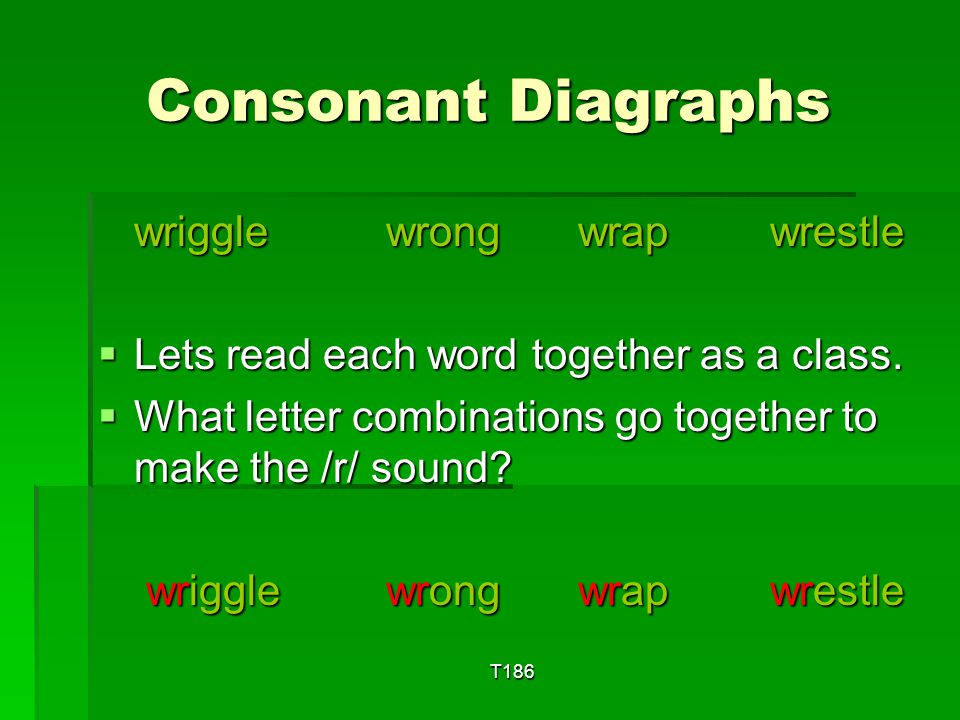 Consonant Diagraphs wriggle wrong wrap wrestle