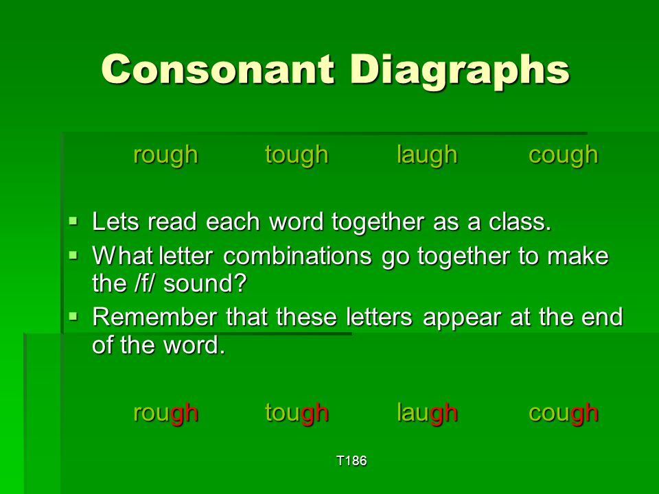 Consonant Diagraphs rough tough laugh cough