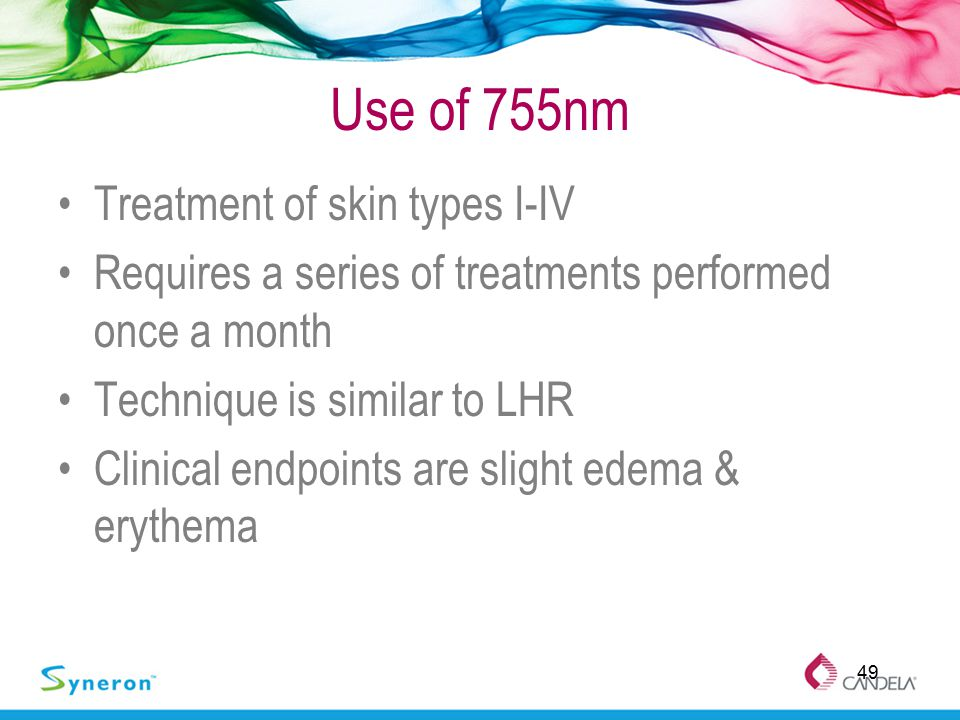 Use of 755nm Treatment of skin types I-IV