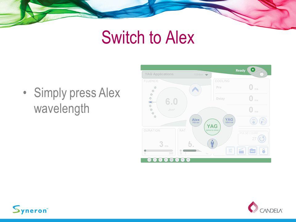 Switch to Alex Simply press Alex wavelength