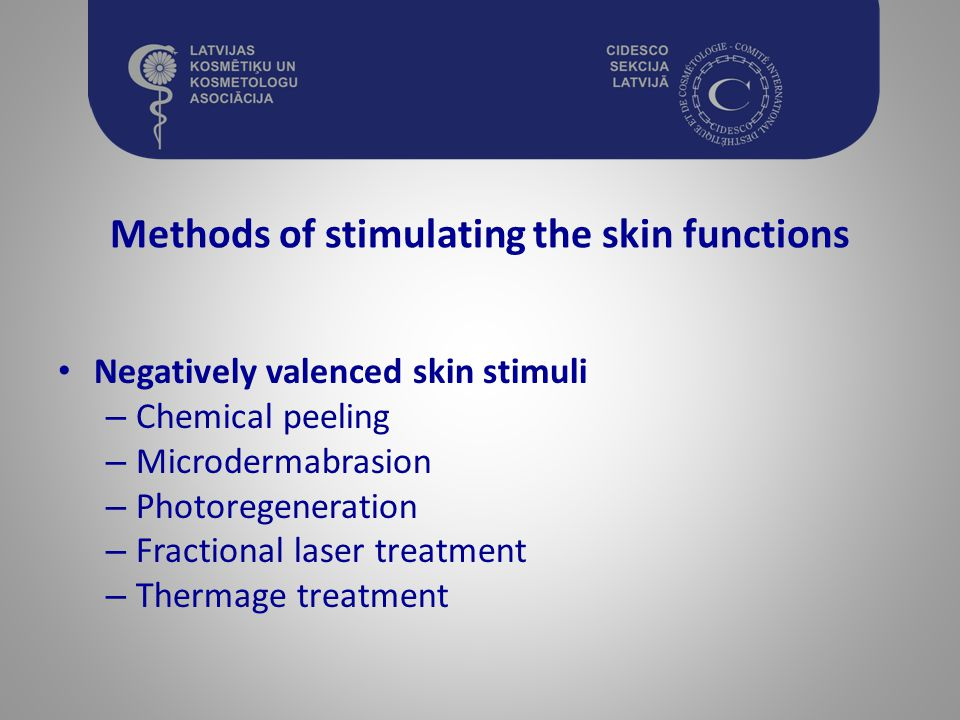 Methods of stimulating the skin functions